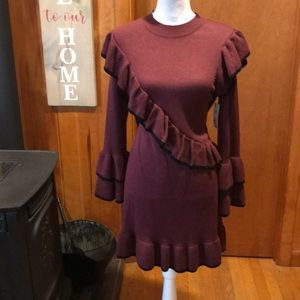 NWT Sz S Ruffle Tiered Bell Sleeve Knit Dress